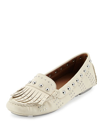 Val Studded Leather Driver, Cream