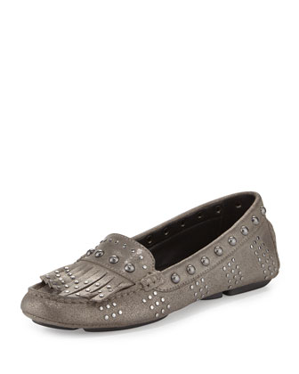 Val Studded Leather Driver, Gunmetal