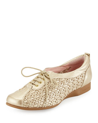 Trudee Woven Lace-Up Sneaker, Soft Gold