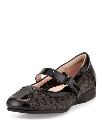 True-Woven Patent Leather Mary Jane, Black
