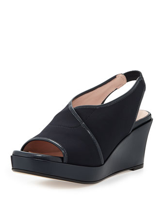 Shoshana Stretch Slingback Wedge, Navy