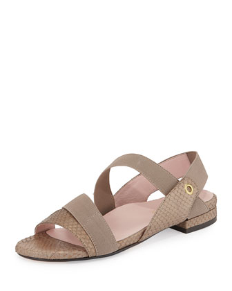 Iyana Novelty Snake-Embossed Leather Sandal, Bronze