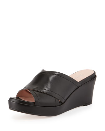 Saura Crisscross Strap Wedge Sandal, Black