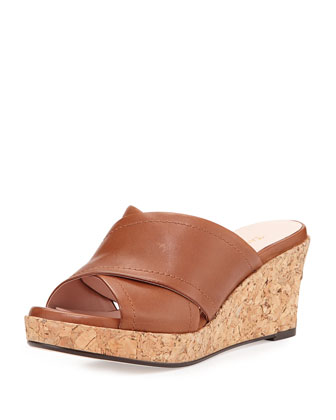 Saura Crisscross Strap Wedge, Tan