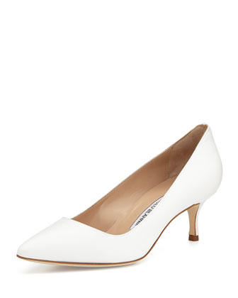 BB Leather 50mm Pump, White (Made to Order)