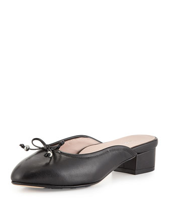Faigel Low-Heel Leather Mule, Black