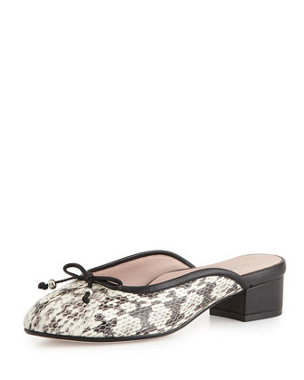 Faigel Low-Heel Snake-Print Leather Mule, Natural
