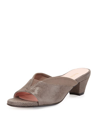 Odi Lizard-Embossed Slide, Taupe