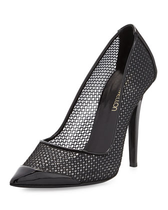Tease Mesh Point-Toe Pump, Black