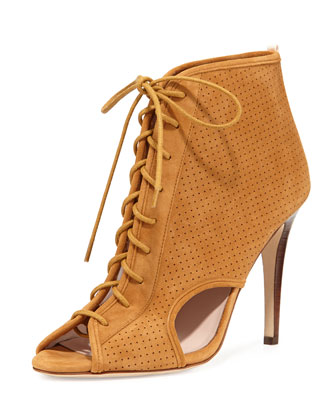 Marci Suede Lace-Up Open-Toe Bootie, Brown