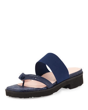 Tomm Stretch Thong Sandal, Medieval Blue