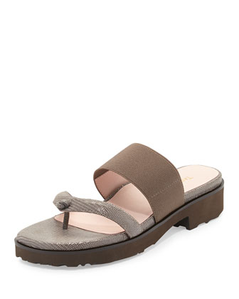 Tomm Stretch Slip-On Leather Sandal, Taupe