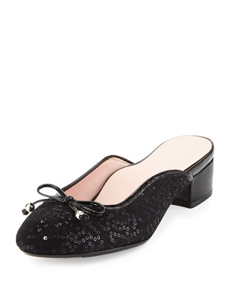 Faigel Sequin-Embellished Mule, Black