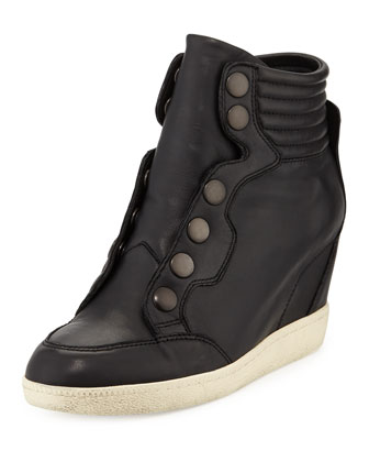 Blade Laceless Napa Wedge Sneaker, Black
