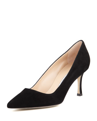 BB Suede 70mm Pump, Black (Made to Order)