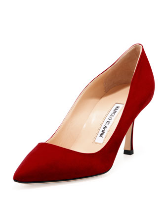 BB Suede 70mm Pump, Ruby (Made to Order)