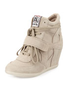 Bowie Suede Wedge Sneaker, Clay