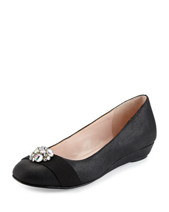 Pello Suede Ornament Flat, Black
