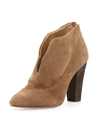Pixil Split-Front Suede Bootie, Taupe