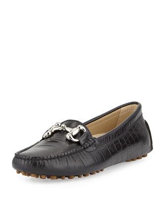 Jane Croc-Embossed Bit Loafer, Black