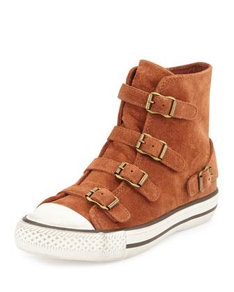 Virgin Suede Buckled Sneakers, Rosewood