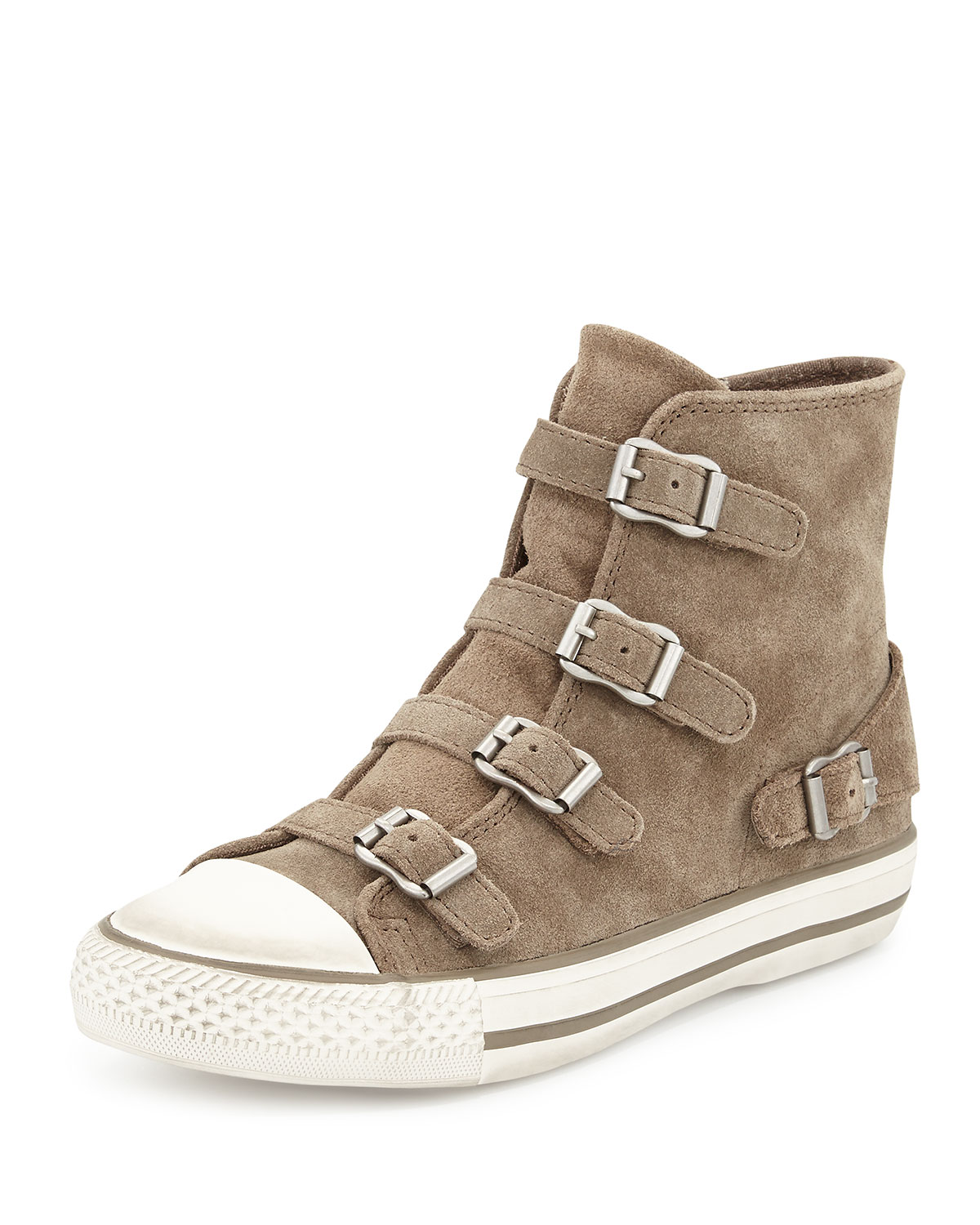 Ash Virgin Suede Buckled Sneakers, Taupe, 10