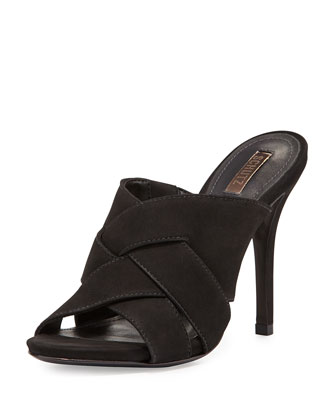 Basketweave Open-Toe Sandal, Black