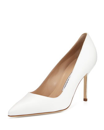 BB Leather 90mm Pump, White (Made to Order)