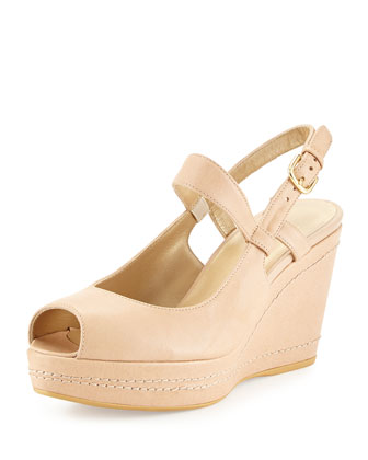 Bridge Peep-Toe Wedge Sandal, Naked