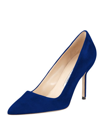 BB Suede 90mm Pump, Cobalt (Made to Order)