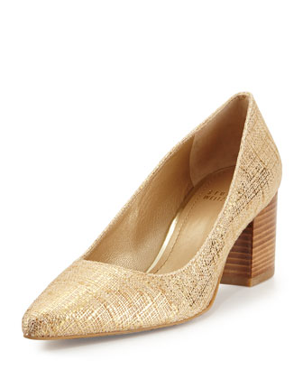 First Class Point-Toe Pump, Gilt