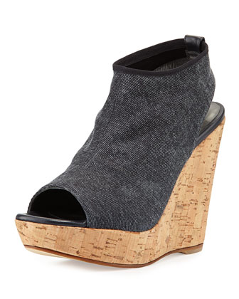 Glover Peep-Toe Stretch Wedge, Denim