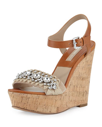 Anastasia Embellished Wedge Sandal, Natural