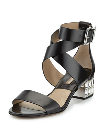 Leigh Crystal-Heel City Sandal, Black