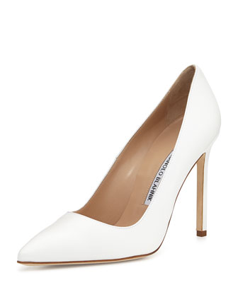 BB Leather 115mm Pump, White (Made to Order)