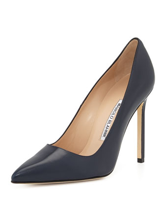 BB Leather 115mm Pump, Navy (Made to Order)