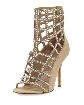 Cora Crystal Cage Sandal, Nude