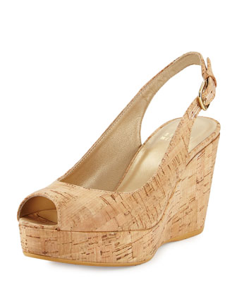 Jean Allover-Cork Peep-Toe Wedge, Natural