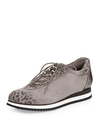Relay Leopard-Print Sneaker, Cement