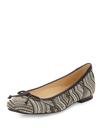 Shoestring Woven Ballerina Flat, Black/White