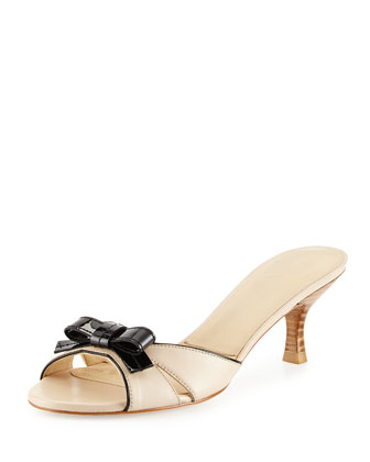Strapless Leather Bow Slide, Pan