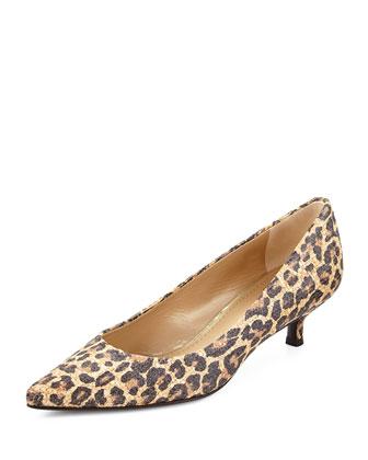 Poco Leopard-Print Raffia Pump, Caramel