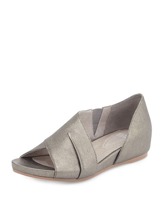 Code Metallic Demi-Wedge Sandal, Pewter