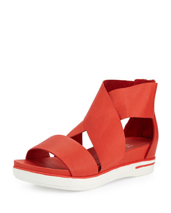 Sport Flatform Sneaker Sandal, Bright Ember