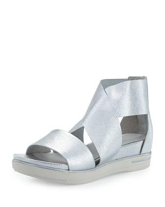 Sport Flatform Sneaker Sandal, Silver