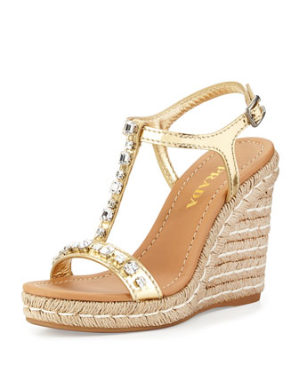 Jeweled T-Strap Rope Wedge Espadrille, Platinum