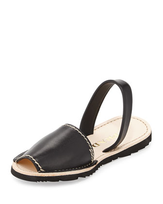 Halter-Strap Leather Sandal, Nero