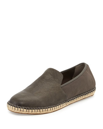 Flit Stretch-Back Leather Espadrille, Ash