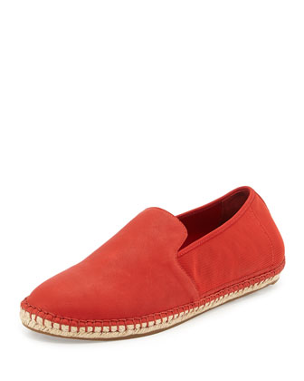 Flit Stretch-Back Leather Espadrille, Red