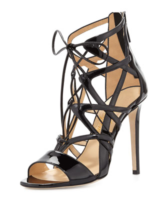Patent Lace-Up Strappy Sandal, Black
